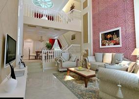 复式现代客厅3D模型图