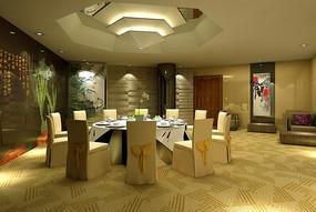 星级酒店餐厅3D效果图
