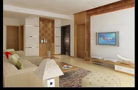 淡雅洁净现代客厅3D效果图