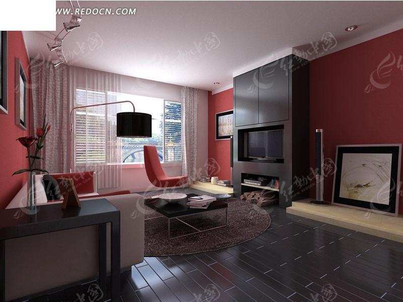 红白黑三色搭配时尚客厅3dmax模型图片