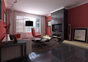 红白黑三色搭配时尚客厅3dmax模型