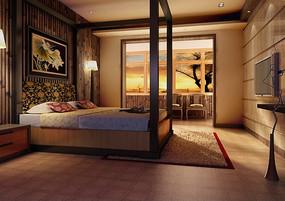 深色中式卧室3D效果图