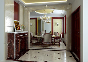 美式風格門廳及餐廳3dmax模型