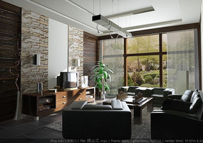 豪华高档客厅3D效果图