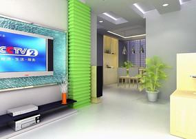 豪华现代风格客厅装饰效果图3D模型素材