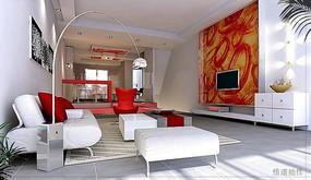时尚现代客厅效果图3D模型