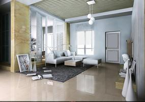 时尚唯美风格客厅设计效果图3D模板素材