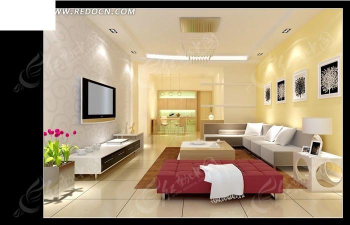 时尚唯美风格客厅装饰效果图图片