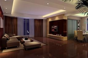 豪华时尚客厅效果图3D模型素材
