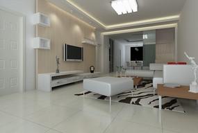 简约风格客厅装饰效果图3D模型素材