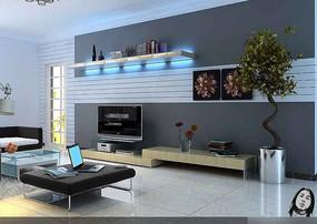 带灯光简约电视背景墙3dmax模型