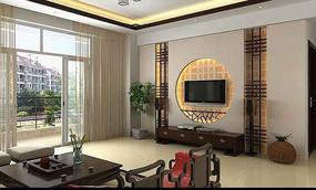 中式风格电视背景墙3dmax模型