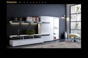 白色简约客厅组合电视背景墙3dmax模型