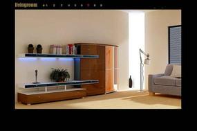 木制简约客厅组合电视背景墙3dmax模型