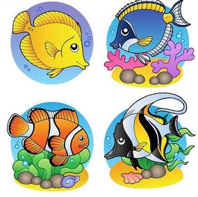 4款手绘卡通鱼