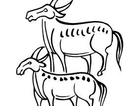 手绘水牛图案