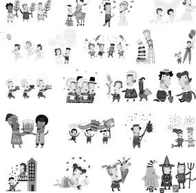 方臉的卡通人物構成的多幅黑白矢量圖