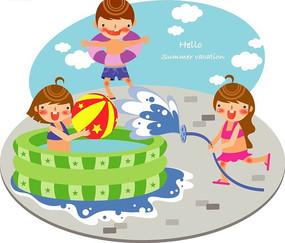 夏天玩水的小朋友
