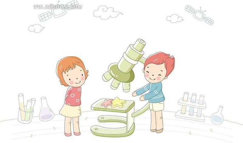 小学生 一研究 小学生 : ... 人物 > 卡通形象 > 做生物研究的两个小学生插画设计