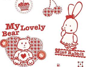 可爱的小兔子与熊宝宝