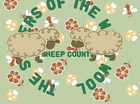 两只可爱的小绵羊与小花蘑菇