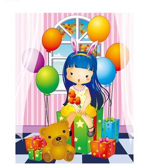 坐在礼物上可爱的蓝发小女孩