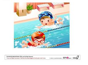 在游泳池里开心游泳的两个可爱小朋友