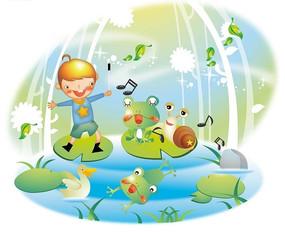 荷叶上可爱的小男孩和小动物
