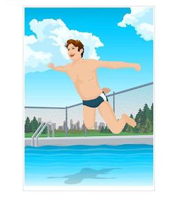 往游泳池跳水的卡通人物