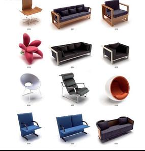 十二套独特设计3D沙发模型素材下载