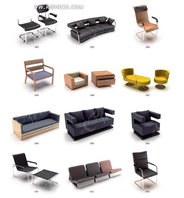 沙发座椅3D模型设计渲染效果图图片