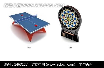 乒乓球桌与飞镖盘3D模型设计图片