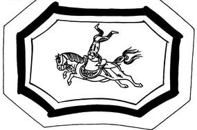 中国传统白描画--倒立骑马的人