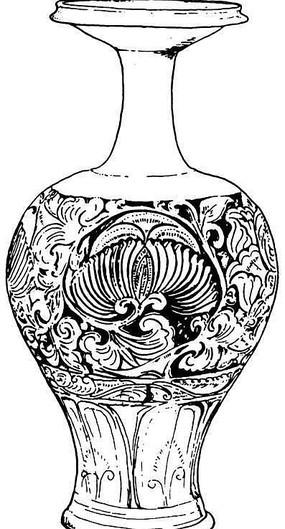 中国传统白描植物花瓶