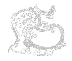 中国古典图案-龙纹和云纹构成的斑驳的图案