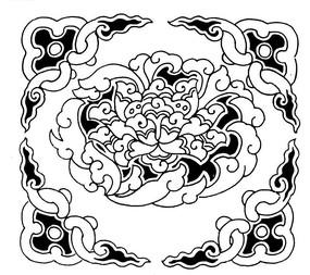 四角上的古典卷曲花边包围着盛开的牡丹黑白矢量图