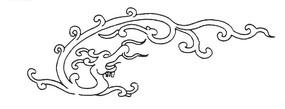 中国古典图案-卷曲纹龙纹构成的简洁图案