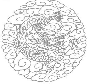 中国古典图案-龙纹和云纹构成的圆形图案