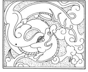 中国古典图案-卷曲纹龙纹构成的方形图案