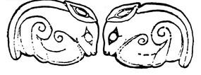 中国古典图案-两只头碰头的免子