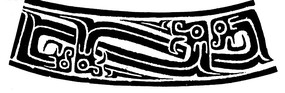 中国古典图案-卷曲纹龙纹构成的弧形图案