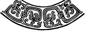 中国古典图案-抽象卷曲纹龙纹构成的弧形图案