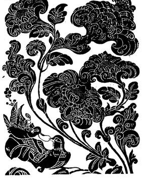 卷曲纹鸟纹枝叶花朵纹构成的黑白矢量图