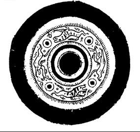 中國古典圖案-動物和圓形構成的斑駁模糊的圓形圖案