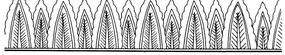 蕉葉紋交疊構成的橫圖花邊矢量圖