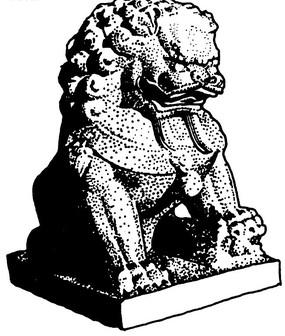 威嚴的石獅子黑白矢量圖