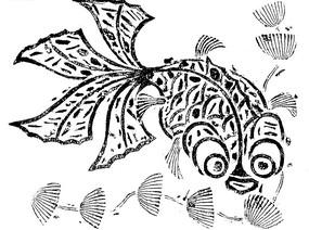 金魚水草黑白矢量圖