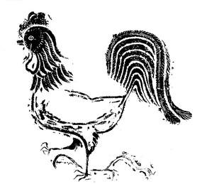 一只公鸡白描图