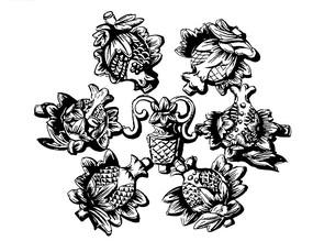花朵浮雕图案AI素材