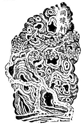 同豫轩矢量假山雕刻白描图